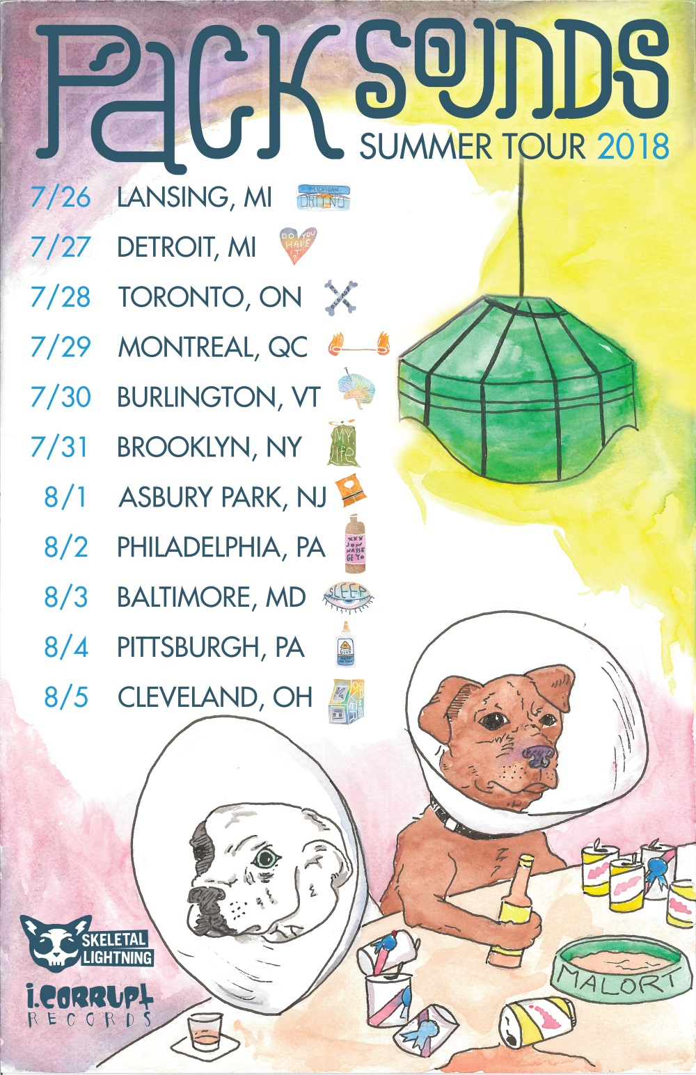 PACK SOUNDS tour poster, by Nick Yonce