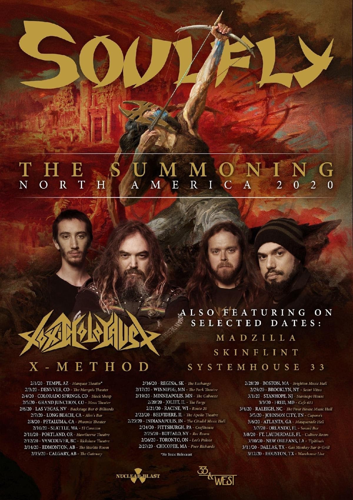 SOULFLY tour with TOXIC HOLOCAUST